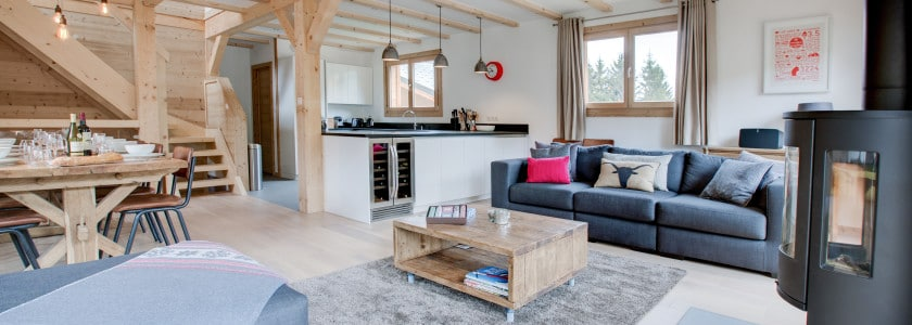 chalet north star open plan living, chalet morzine