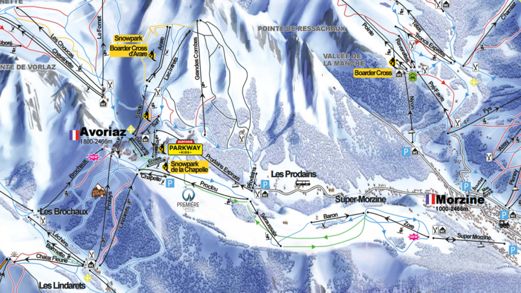 Ski Route from Morzine to Linderettes Easy Elevation Alps