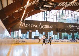 girls ice skating in morzine at the skoda arena