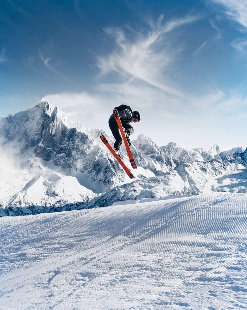 man jumping on skis in new piste in the portes du soleil