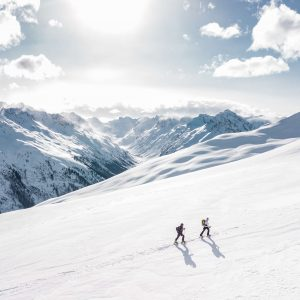 2 men ski touring on new piste in the portes du soleil