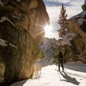 ski touring on new piste in the portes du soleil