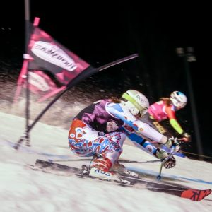women skiing at the ladies night tour night skiing event in Morzine