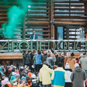 revellers party at la Folie Douce in Avoriaz