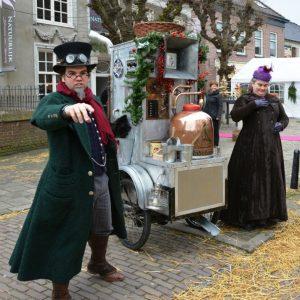 Dickens sweet machine on street for christmas week in morzine
