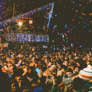 revellers dance in morzine square for new year