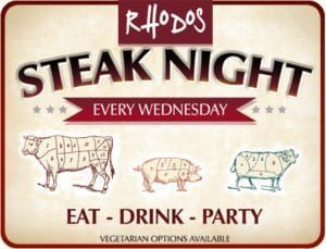 rhodos morzine steak night poster