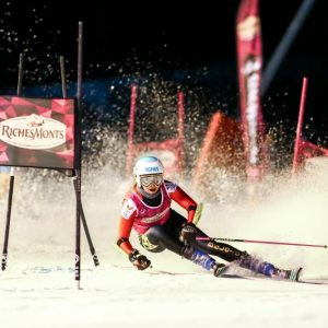 skier descends the Pleney for the womens european cup morzine