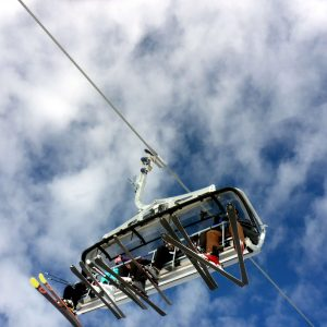 skiers ride lift during early opening for Avoriaz