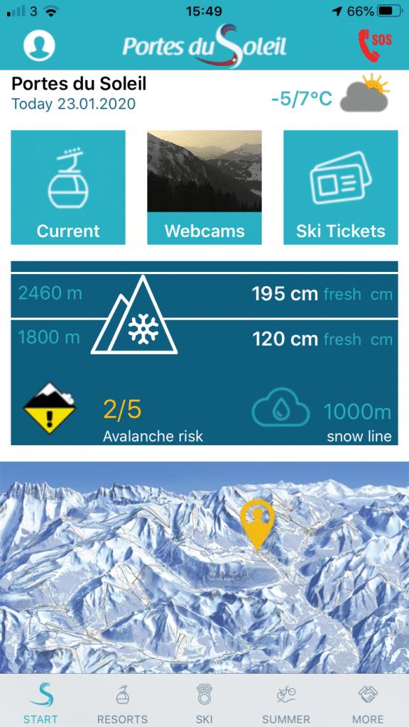 Portes du Soleil Winter App home screen