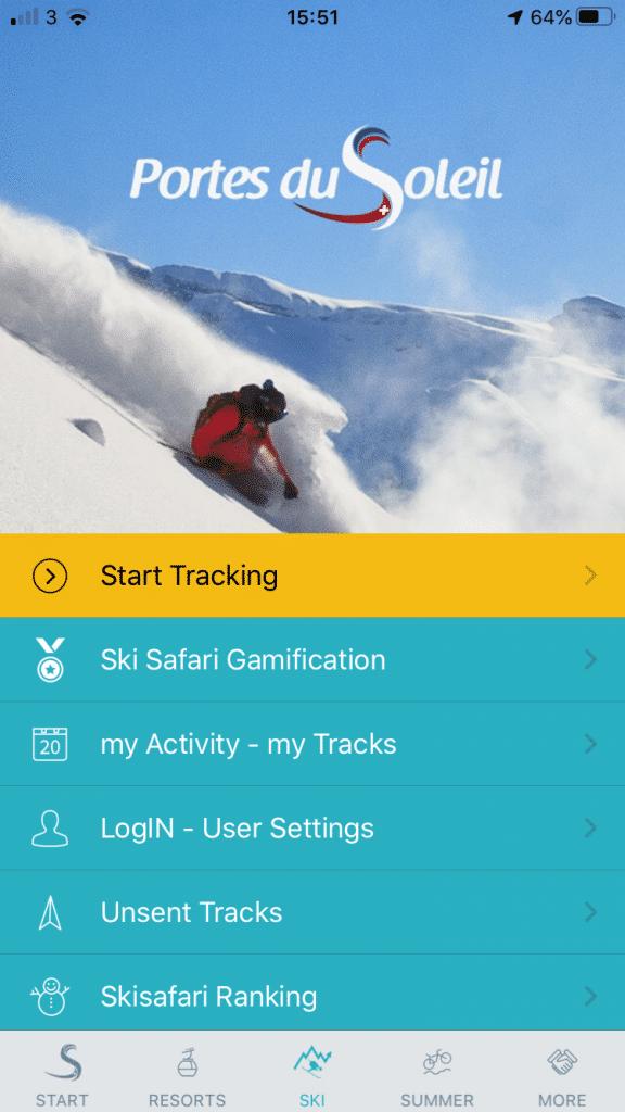 Portes du Soleil Winter App tracking screen