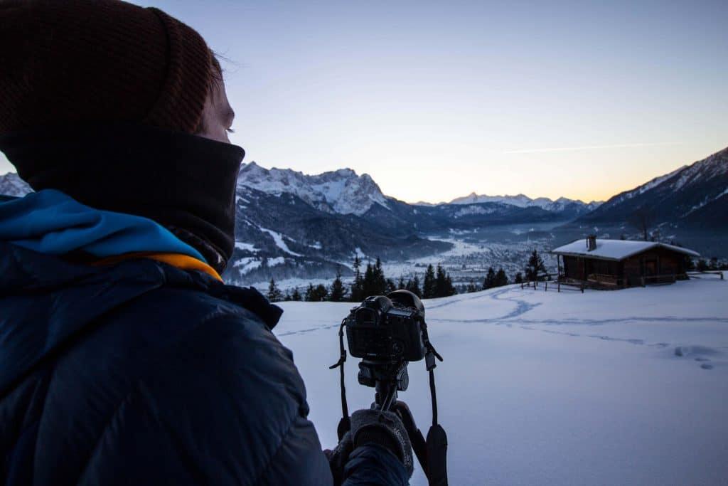 Man holds camera filming for Morzine film awards