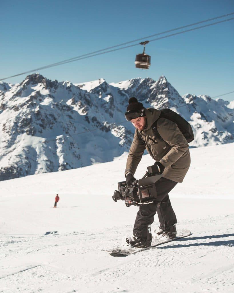 Morzine film awards filmer on a snowboard