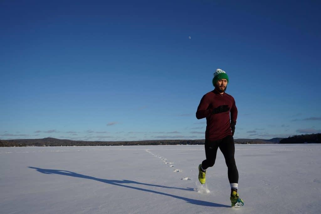 man running on snow